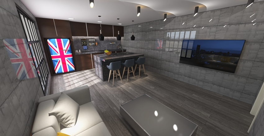 Interior Design of a Kitchen and Living room in modern style Interior Design Render