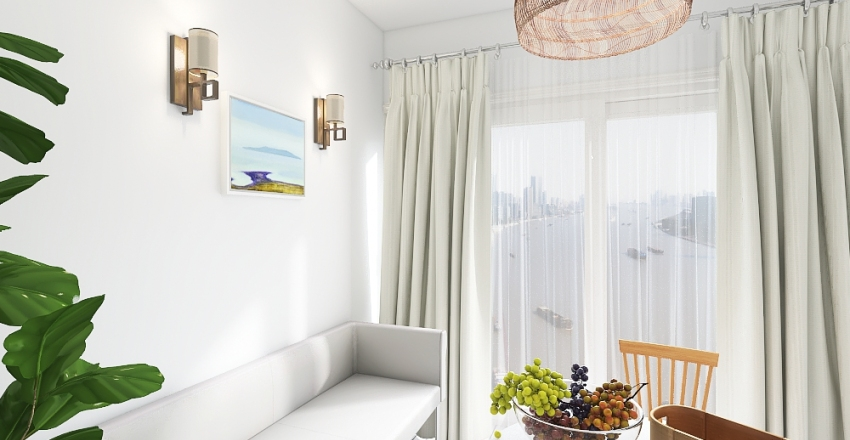 Cute and Airy Apartment Lounge Interior Design Render
