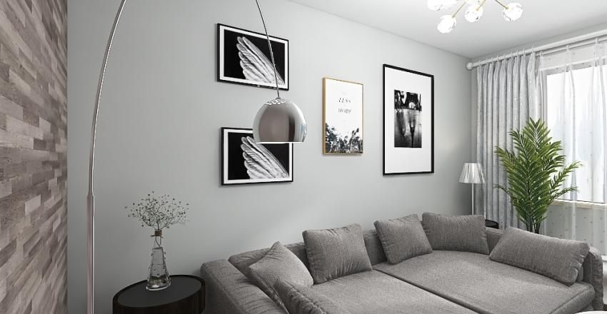 Living Room in Apartment - Dark Bachelor Style Interior Design Render