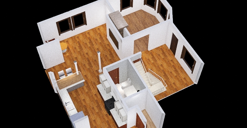 Moved Stairs Interior Design Render