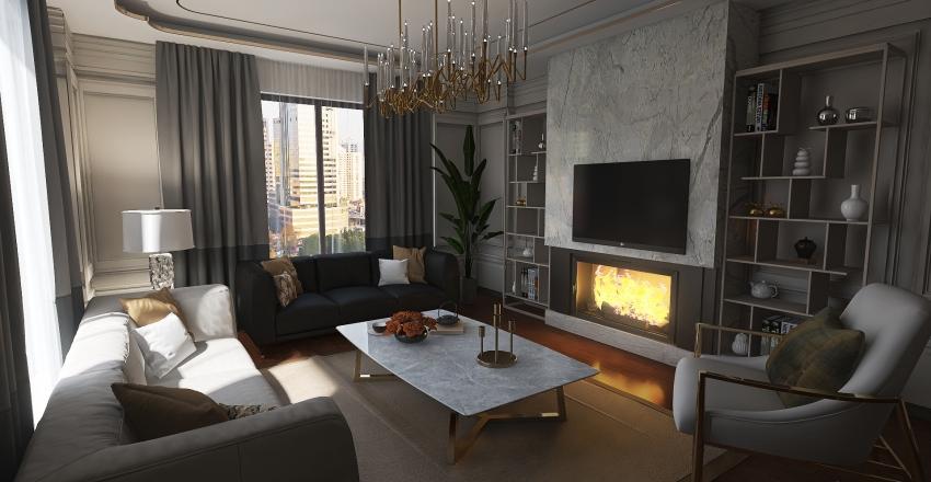 Avant-Garde Living Room Plan Interior Design Render