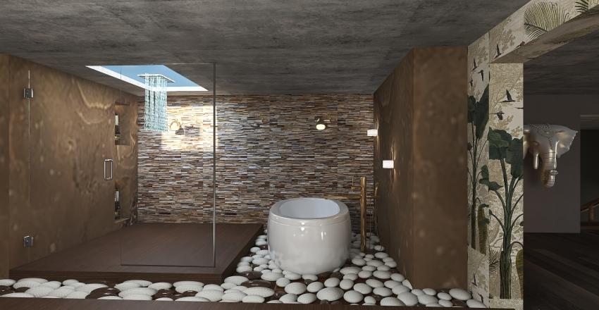wood and stone Interior Design Render