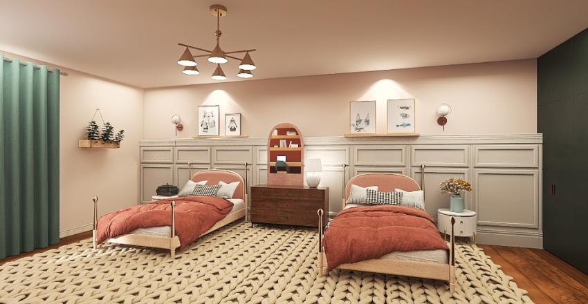 Girls transitional bedroom Interior Design Render
