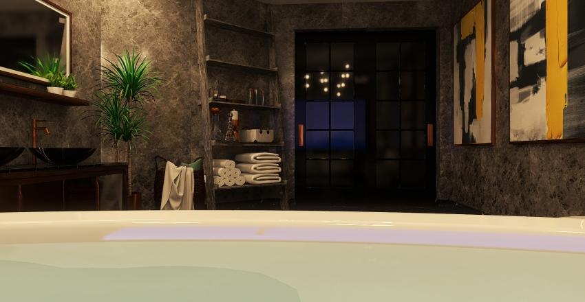 Banheiro cinzento. Interior Design Render