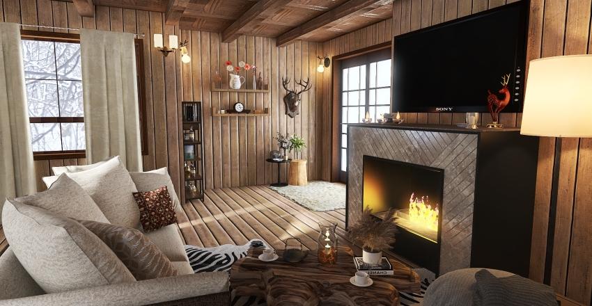 Baita in montagna Interior Design Render