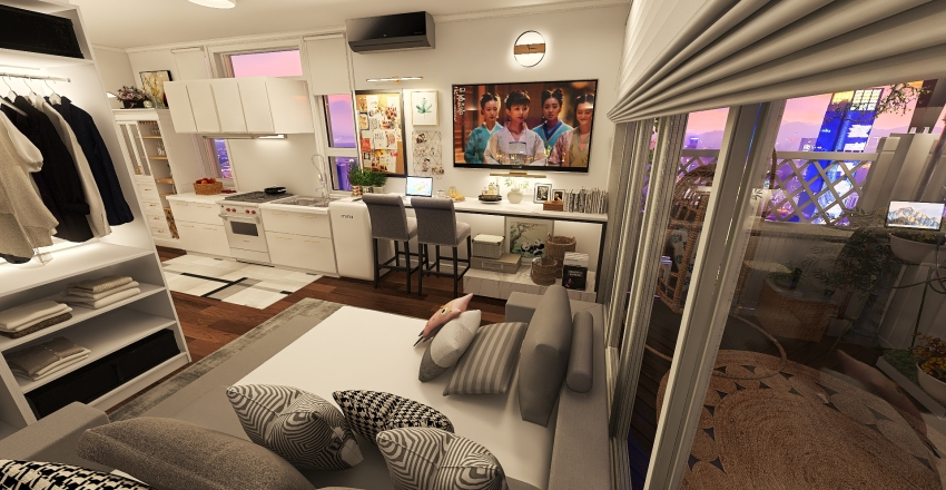 Cozy Tiny House Interior Design Render