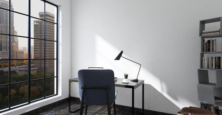 House with dark shades Interior Design Render