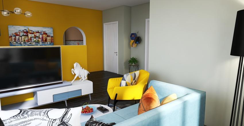 A cute house for two Interior Design Render
