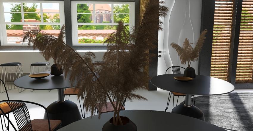 Industrial Townhouse Coffee Shop Interior Design Render