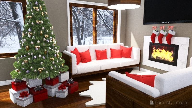 christmas home Interior Design Render