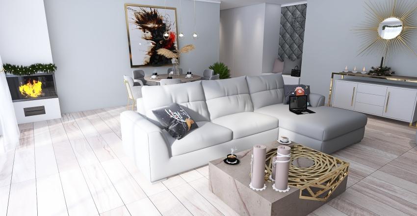 MIESZKANIE PUDROWY RÓŻ Interior Design Render