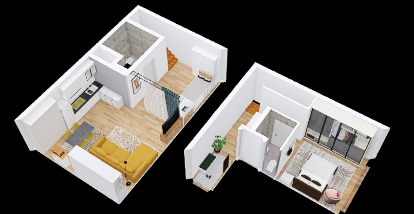 A souterrain apartment in Berlin Interior Design Render