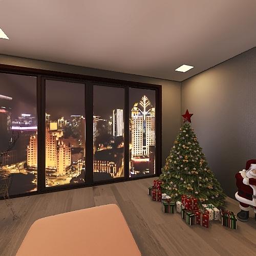 Living Room Christmas Interior Design Render
