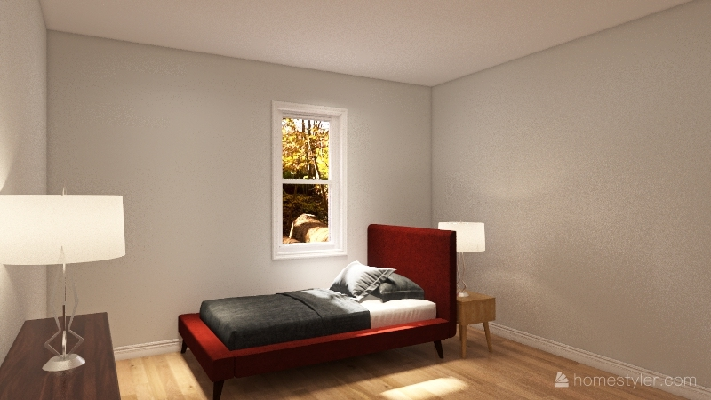 Chris's bed room Interior Design Render