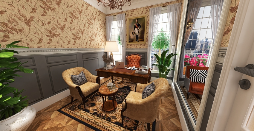 Traditional Design Style Executive Office Interior Design Render