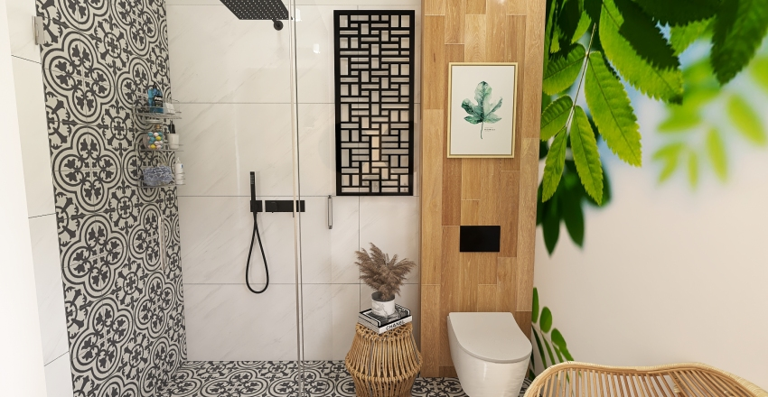 Boho Bathroom with green Interior Design Render