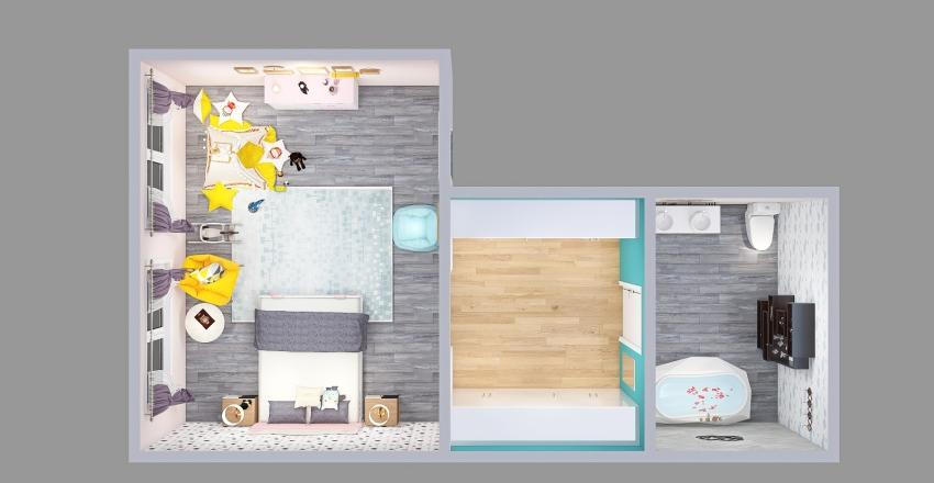 dormitorio con tematica de gatito Interior Design Render