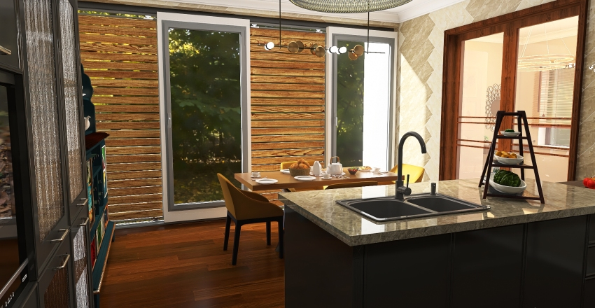 Casa en tonos marrón Interior Design Render