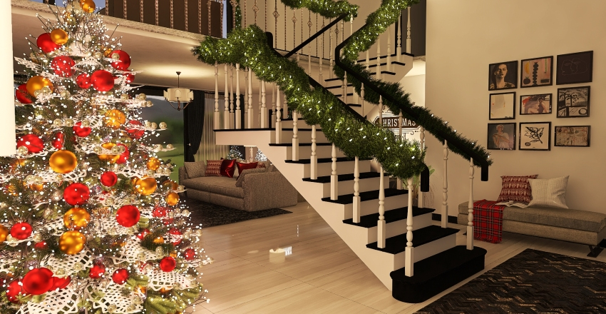 Christmas time Interior Design Render