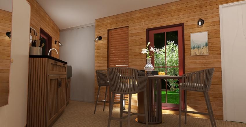 Midcentury log cabin Interior Design Render