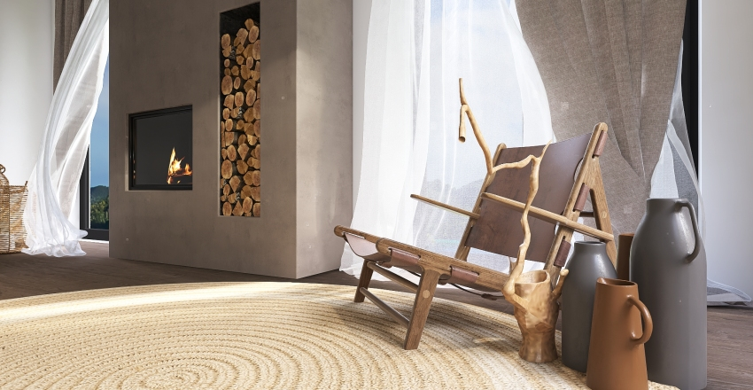 Wabi-sabi BEDROOM Interior Design Render