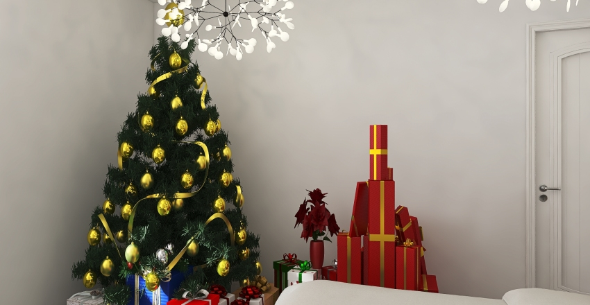 Christmas bedroom Interior Design Render