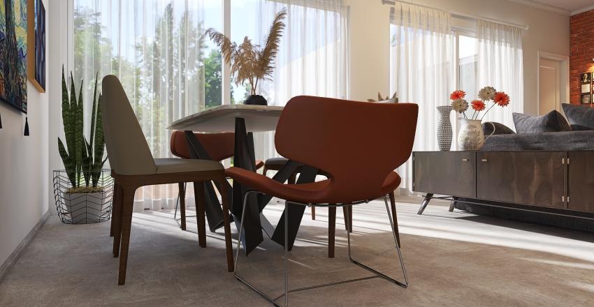 RE2011003 Sala de estar e jantar e cozinha integrada Interior Design Render