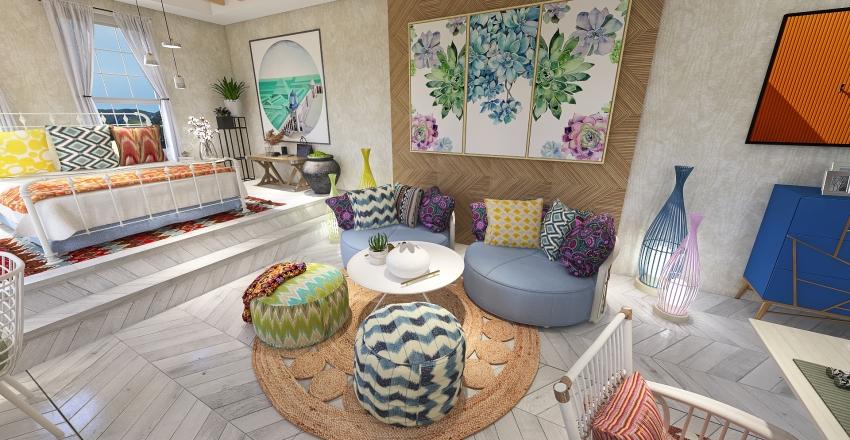 Residential Boho Inspired Studio Apartment Interior Design Render