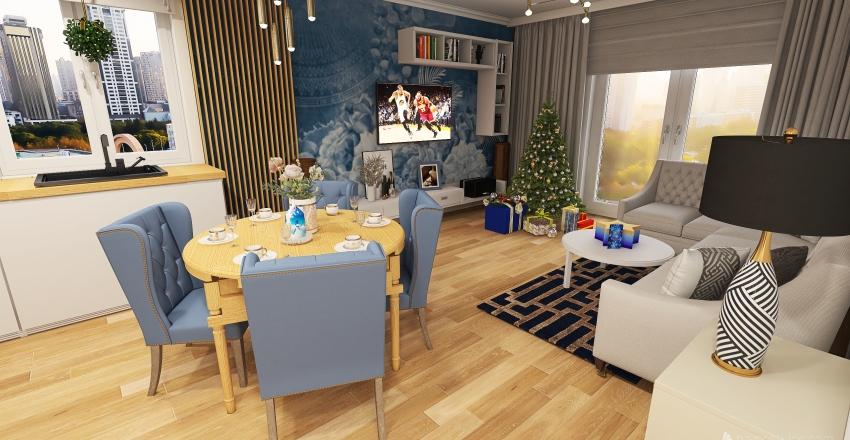 Living room and bedroom in big flat Interior Design Render