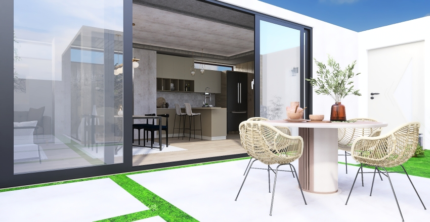 Contemporary house with courtyard Interior Design Render