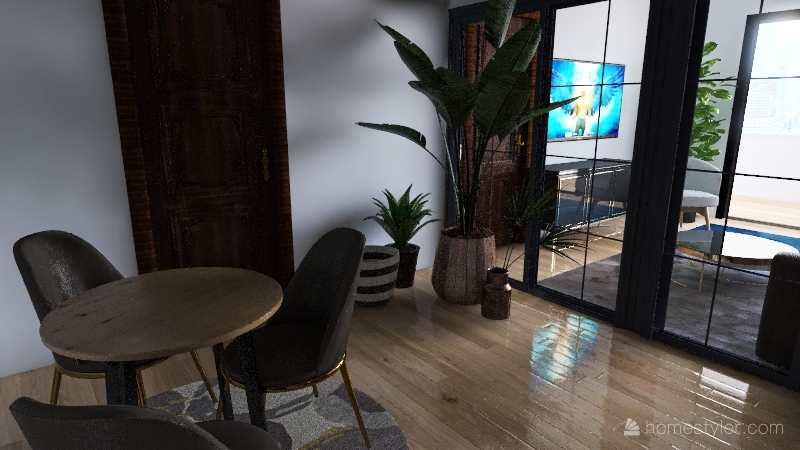 5 apartments 1 floor Interior Design Render