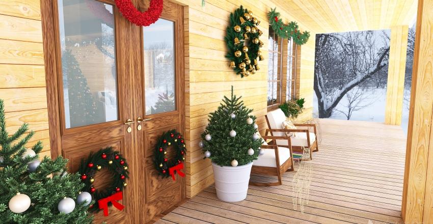 Christmas chalet Interior Design Render