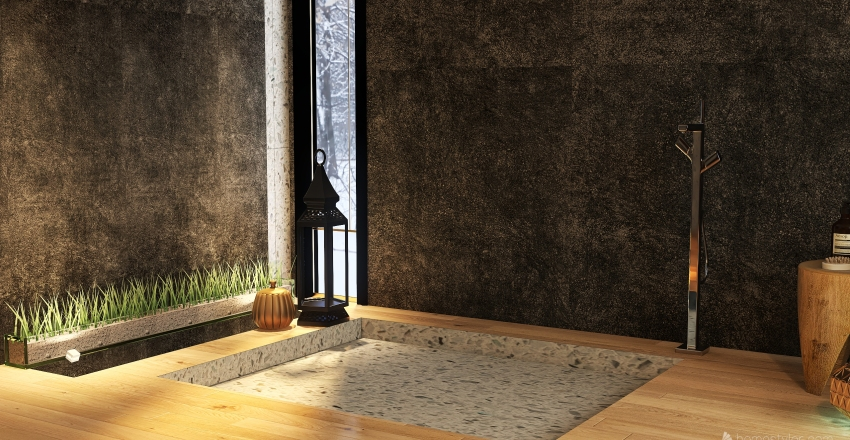 მყუდრო ნაცრისფერი Interior Design Render
