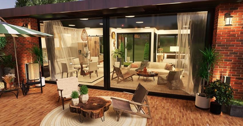 Wabi-sabi Cabana Villa Small House Interior Design Render
