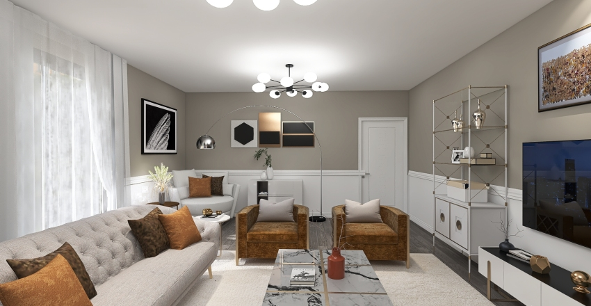 Living Room - Beige and Brown Interior Design Render