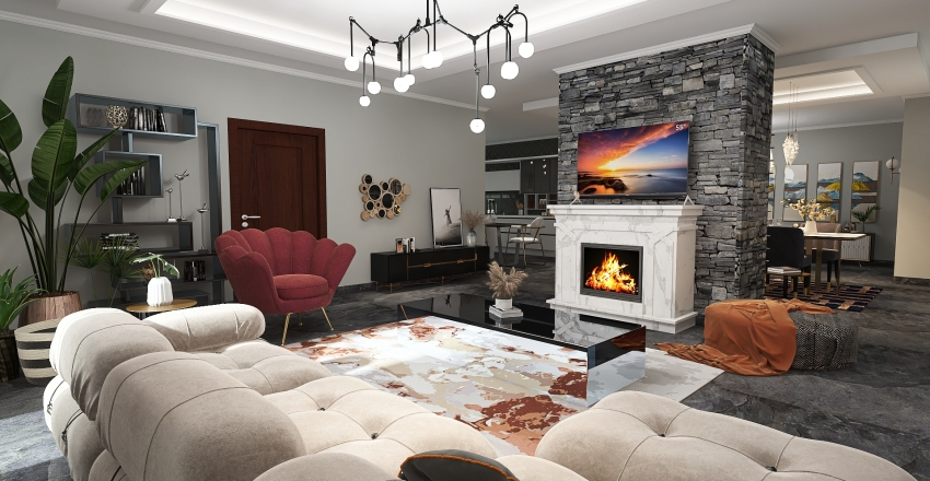 Modern big apartment Interior Design Render