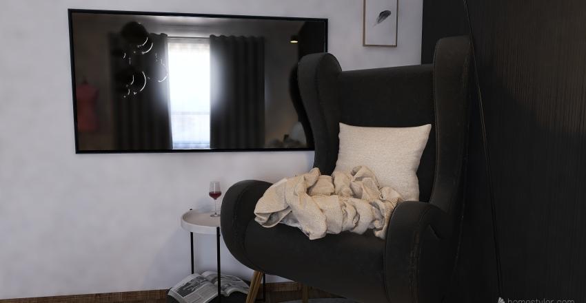 Modern black and white residential Interior Design Render