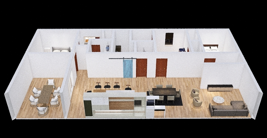 KITCHEN AND LR REVERSED LAUNDRY BY BED AND SMALL PANTRY Interior Design Render