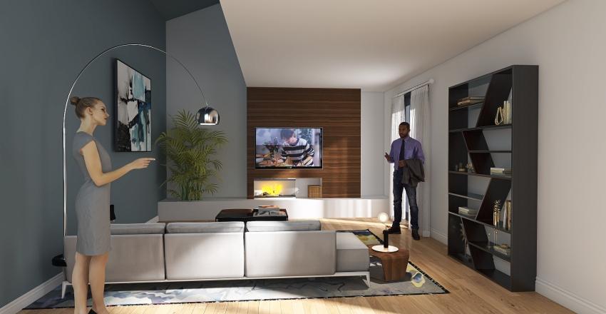 soluzione tv con camino Interior Design Render