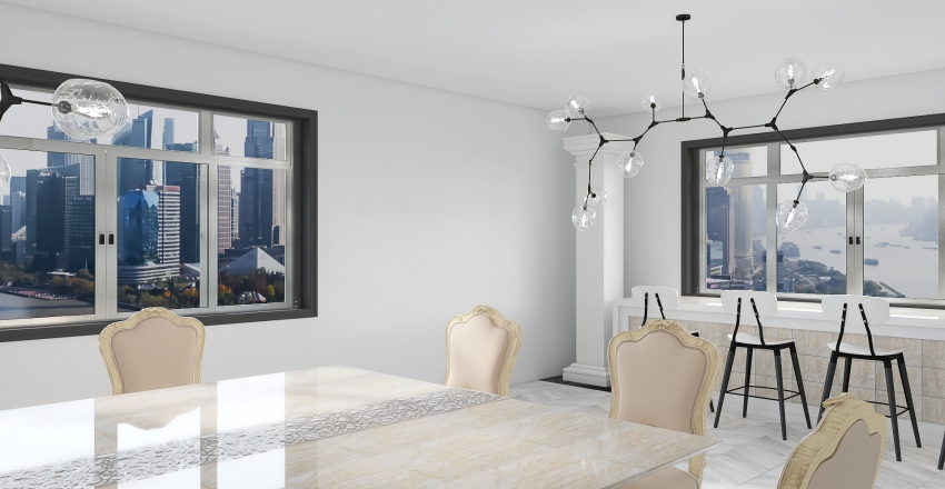 Bright Luxury Home Interior Design Render