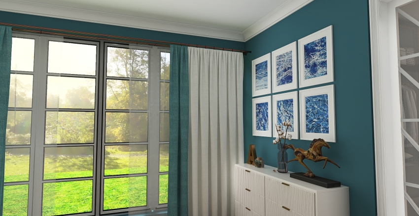 Azul marítimo Interior Design Render