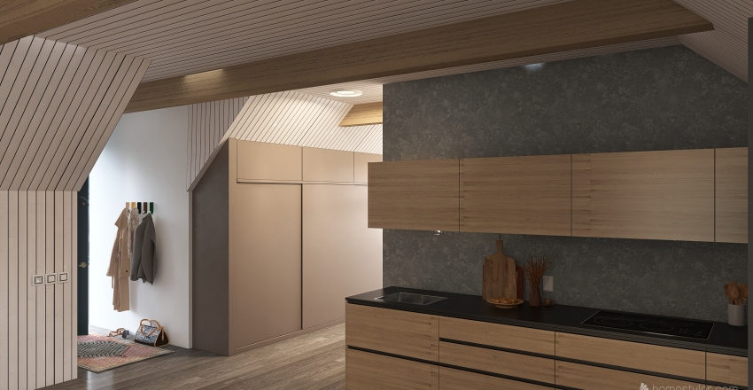 Taglejlighed Interior Design Render