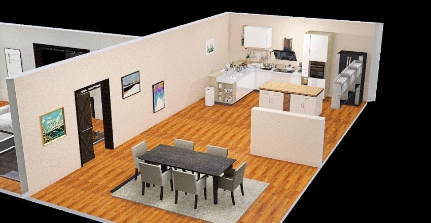 Living room/ Kitchen Interior Design Render