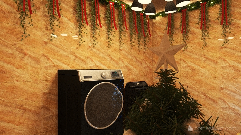 casa congelada de navidad Interior Design Render