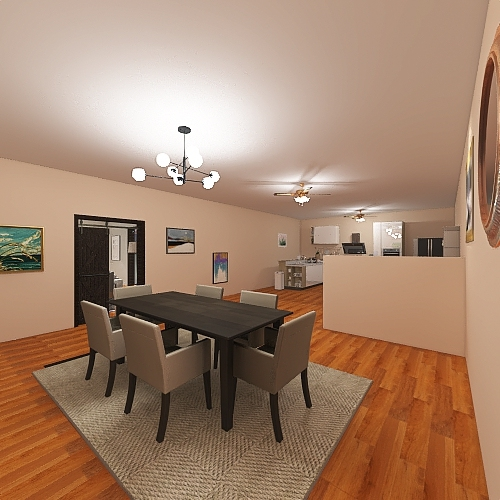 Copy of Living room/ Kitchen Interior Design Render