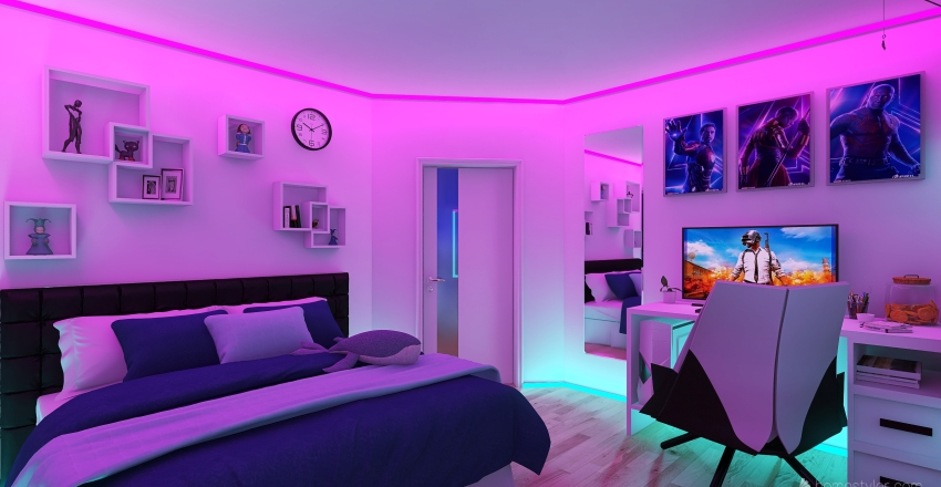 Gamer Girl Bedroom Interior Design Render