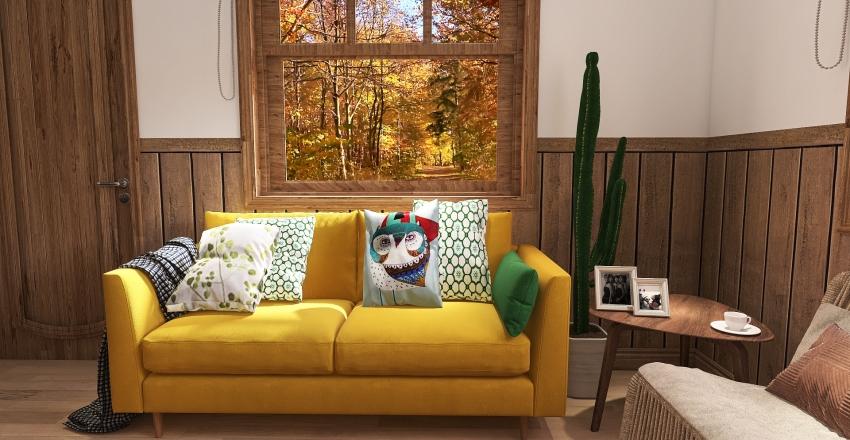 small wooden cabin Interior Design Render