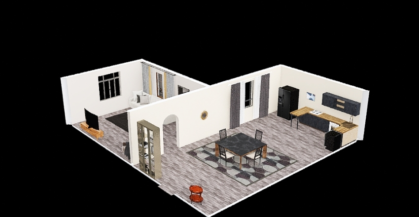 kitchen and dinning room Interior Design Render