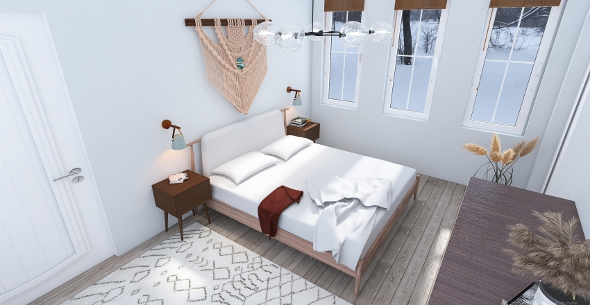Small modern cabin Interior Design Render