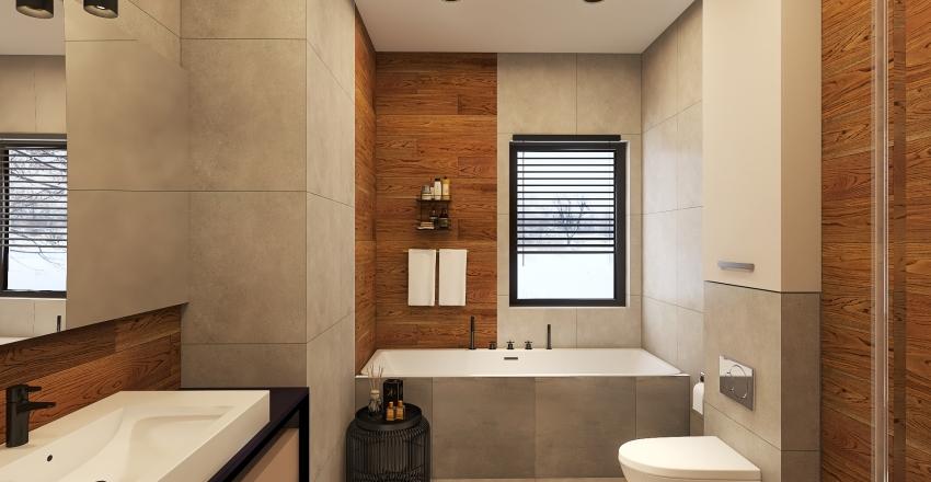 Wood and stone inspired bathroom Interior Design Render